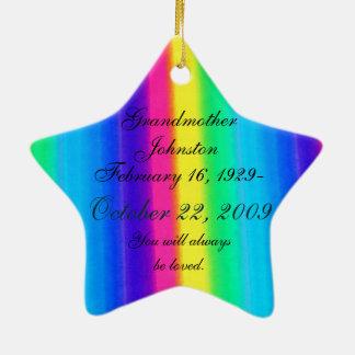 Loving Memory Pastel Rainbow Death Memorial Star Christmas Ornament