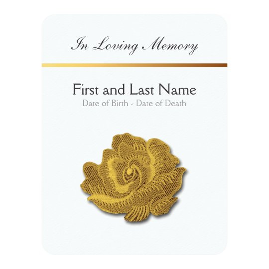 Loving Memory Vintage Rose 1 Funeral Announcement