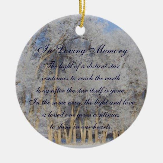 Loving Memory Winter Pogonip Death Memorial Christmas Ornament