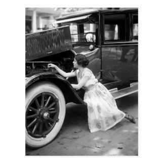 Loving My Old Car, 1920s Postcard