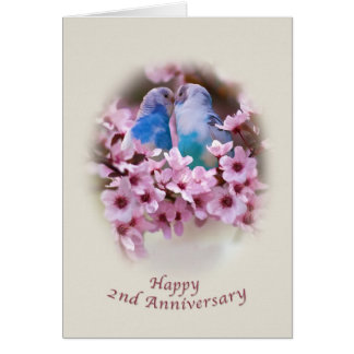 Loving Parakeets 2nd Anniversary Card
