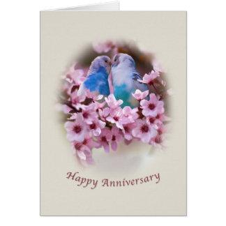 Loving Parakeets  Anniversary Card