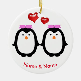 Loving Penguin Couple Two Females Christmas Ornament