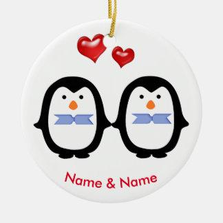 Loving Penguin Couple Two Males Round Ceramic Decoration