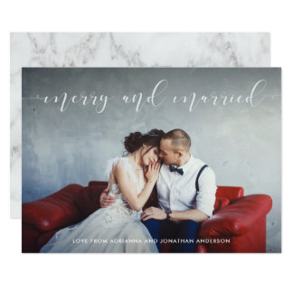 Loving Script | Merry and Married with Photo Card