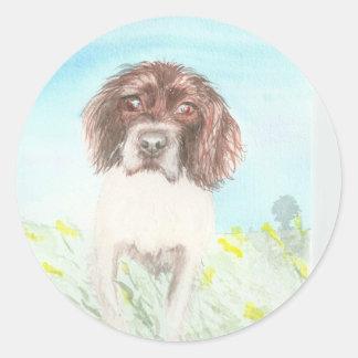 loving spaniel watercolour classic round sticker