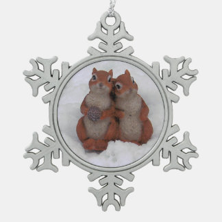 Loving Squrrels in Snow Pewter Ornament/Necklace Snowflake Pewter Christmas Ornament