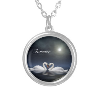 Loving swans silver plated necklace