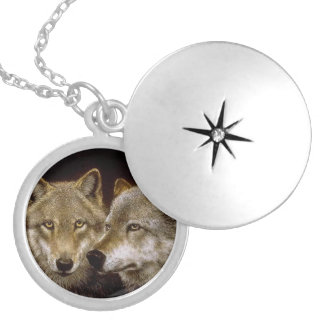 Loving Wolf 4 Silver Plated Necklace