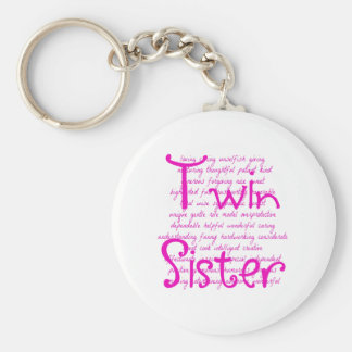 Loving Words for Twin Sister Key Ring
