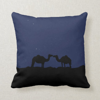 Lovley camels in desert at night cushion