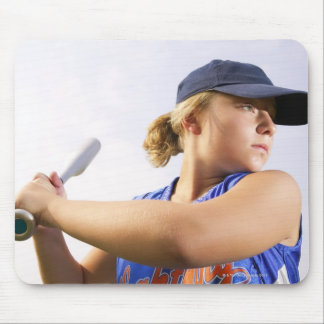 Low angle side view of a softball player looking mouse mat