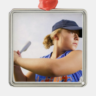 Low angle side view of a softball player looking Silver-Colored square decoration