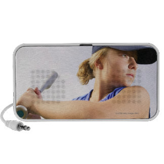 Low angle side view of a softball player looking speakers