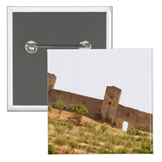 Low angle view of a fort, Monteriggioni, Siena 15 Cm Square Badge
