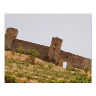 Low angle view of a fort, Monteriggioni, Siena Poster