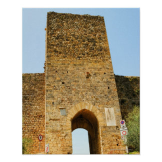 Low angle view of a fort, Porta Franca, Poster