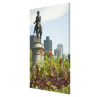 Low angle view of a statue in the garden, canvas print