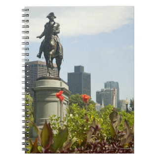 Low angle view of a statue in the garden, notebooks