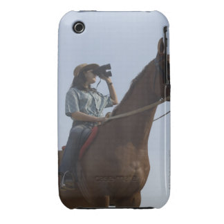 Low angle view of a teenage girl riding a horse iPhone 3 case