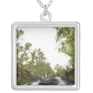 Low Angle View of a Waterfall with Sky view Silver Plated Necklace