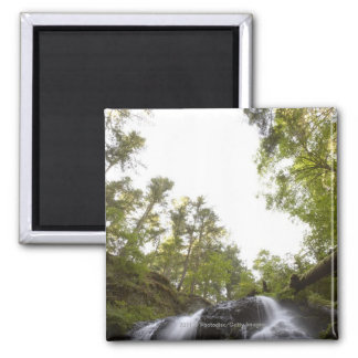 Low Angle View of a Waterfall with Sky view Square Magnet
