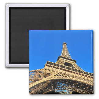 Low angle view of Eiffel Tower against blue sky Square Magnet