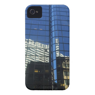 Low angle view of the reflection of buildings on iPhone 4 cover