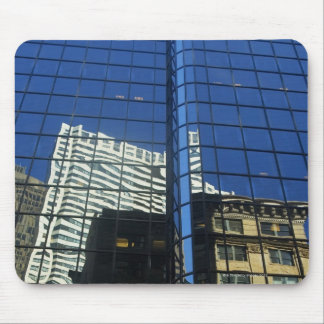 Low angle view of the reflection of buildings on mouse mat
