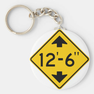 Low Clearance Warning Highway Sign Key Ring