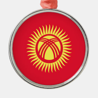 Low Cost! Kyrgyzstan Flag Silver-Colored Round Decoration