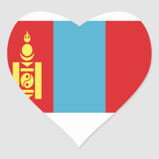 Low Cost! Mongolia Flag Heart Sticker