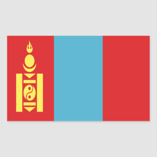 Low Cost! Mongolia Flag Rectangular Sticker