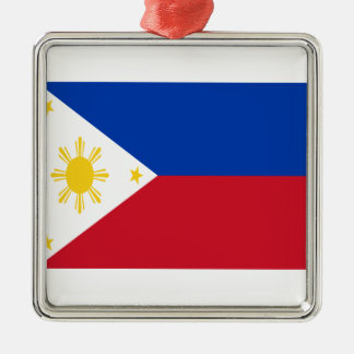 Low Cost! Philippines Flag Silver-Colored Square Decoration
