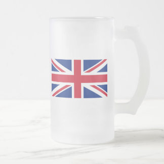 Low Cost Union Jack Flag of Great Britain Glass 16 Oz Frosted Glass Beer Mug