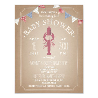 Low Country Boil Cardstock Baby Shower - Bottle 11 Cm X 14 Cm Invitation Card