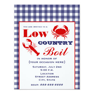 Low Country Boil Crab & Lobster Blue Gingham 11 Cm X 14 Cm Invitation Card