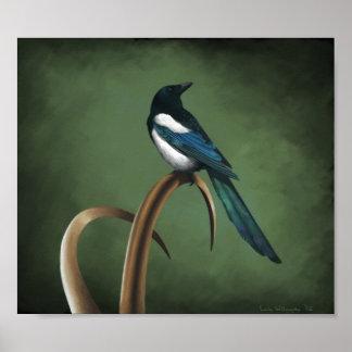 Low-key Magpie Print