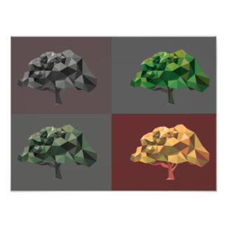 Low poly abstract trees with color variations photo print
