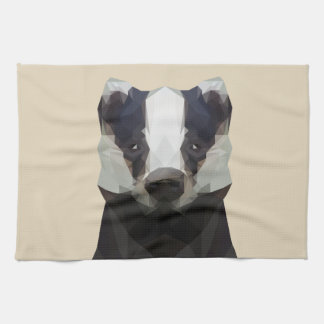 Low poly badger kitchen towel