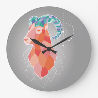 Low Poly Big Horned Sheep Large Clock