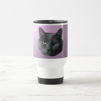 Low Poly Black Cat Stainless Steel Travel Mug