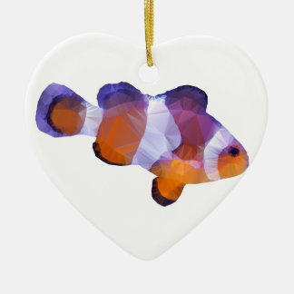 Low Poly Clown Fish Ceramic Heart Decoration