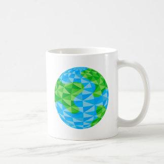 Low Poly Earth World Globe Icon Classic White Coffee Mug