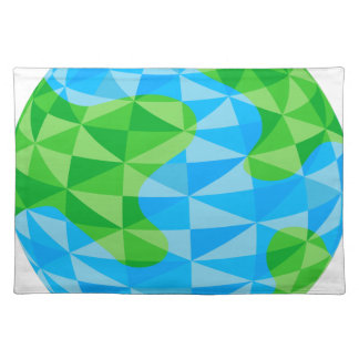 Low Poly Earth World Globe Icon Place Mat