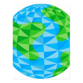 Low Poly Earth World Globe Icon Postcard