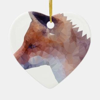 Low Poly Fox Ceramic Heart Decoration
