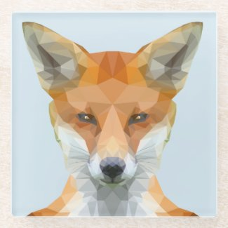 Low poly fox glass coaster, blue glass coaster