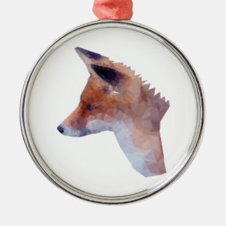 Low Poly Fox Silver-Colored Round Decoration