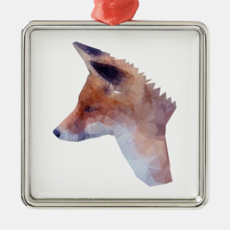 Low Poly Fox Silver-Colored Square Decoration
